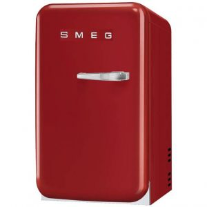 Smeg FAB5LRD New 50's Retro Style Aesthetic Minibar Cooler in Red, Left hand hinge
