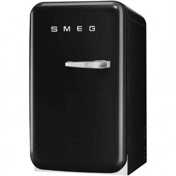 Smeg FAB5LBL New 50's Retro Style Aesthetic Minibar Cooler in Black, Left hand hinge