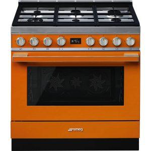 SmegCPF9GPOR Portofino Aesthetic 90cm Cooker with Pyrolytic Multifunction Oven and Gas hob, Orange