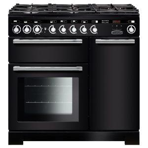 Rangemaster EDLC90DFFBL/C Encore Deluxe 90 cm Dual Fuel Range Cooker in Black
