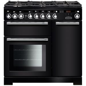 Rangemaster EDL90DFFBL/C Encore Deluxe 90 cm Dual Fuel Range Cooker in Black – Stock Clearance