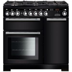 Rangemaster EDL90DFFBL/C Encore Deluxe 90 cm Dual Fuel Range Cooker in Black