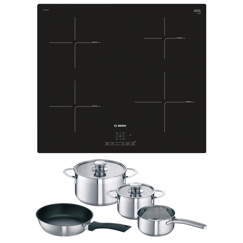 buy bosch pue611bf1bkit induction hob plus free pan set. Black Bedroom Furniture Sets. Home Design Ideas