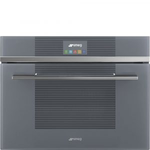 Smeg SF4104MCS Silver Linea Aesthetic 45cm Combination Microwave Oven