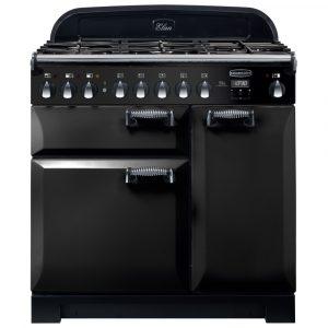 Rangemaster ELA90DFFBL/ Elan Deluxe 90cm Dual Fuel Black Range Cooker