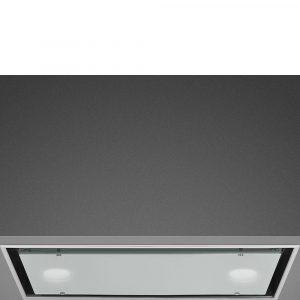 Smeg KSG52B 52cm Dolce Stil Novo Integrated Hood, Stainless Steel & White Glass