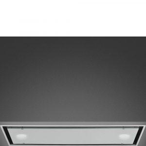Smeg KSG74B 72cm Dolce Stil Novo Integrated Hood, Stainless Steel & White Glass