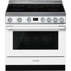 Smeg CPF9IPWH 90cm Portofino White Cooker with Pyrolytic Multifunction Oven and Induction hob