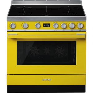Smeg CPF9IPYW 90cm Portofino Yellow Cooker with Pyrolytic Multifunction Oven and Induction hob