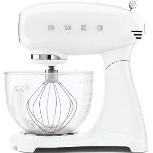 Smeg SMF13WHUK 50s Style Full Colour White Stand Mixer with Glass Bowl