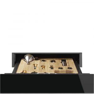 Smeg CPS615NX 15cm Height Dolce Stil Novo Sommelier Drawer, Eclipse Black Glass with St/Steel Trim