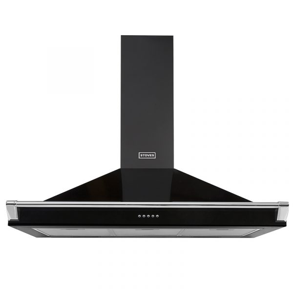 Stoves Richmond Chimney and Rail 1000 444410246 100cm Black Chimney and Rail Extractor Hood