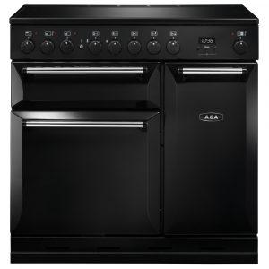 AGA MDX90EIBLK Masterchef Deluxe Induction Range Cooker Black 90cm