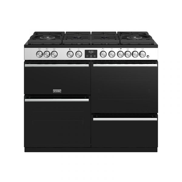Stoves Precision Deluxe S1100DF GTG 444410754 Gas-Through-Glass Hob, Conventional Oven & Grill 110cm Stainless Steel Range Cooker
