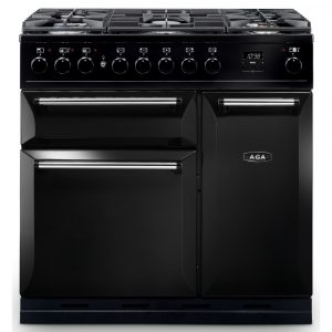 AGA MDX90DFBLK Masterchef Deluxe 90cm Dual Fuel Range Cooker Black