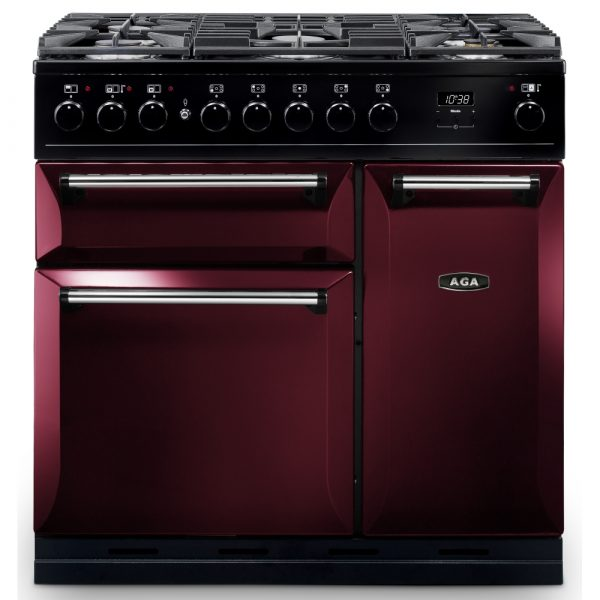 AGA MDX90DFCBY Masterchef Deluxe 90cm Dual Fuel Range Cooker Cranberry