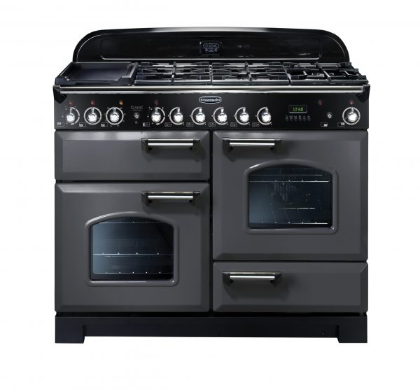 Rangemaster CDL110DFFSL/C Classic Deluxe 110 Dual Fuel Range Cooker In Slate & Chrome
