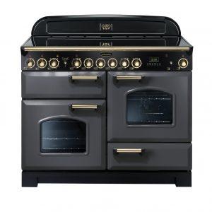 Rangemaster CDL110ECSL/B Classic Deluxe 110 Ceramic Range Cooker Slate & Brass