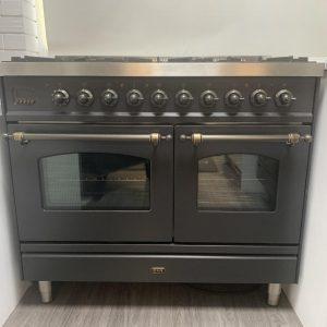 Ilve MILANOPD-106-NE3/MGB Milano 100cm Twin Dual Fuel Graphite Range Cooker - Ex-Display