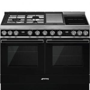 Smeg CPF120IGMPBL Portofino 120cm Black Dual Cavity Cooker with Mixed Fuel Hob