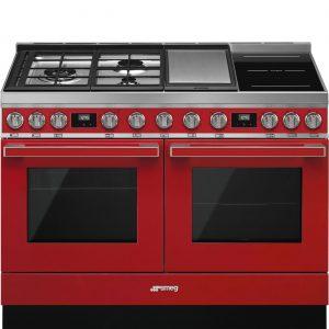 Smeg CPF120IGMPR Portofino 120cm Red Dual Cavity Cooker with Mixed Fuel Hob