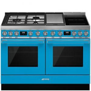 Smeg CPF120IGMPT Portofino 120cm Turquoise Dual Cavity Cooker with Mixed Fuel Hob