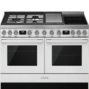 Smeg CPF120IGMPWH Portofino 120cm White Dual Cavity Cooker with Mixed Fuel Hob