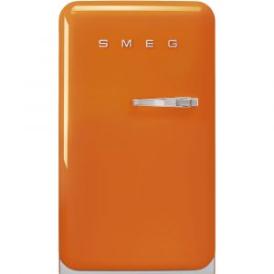 Smeg FAB10LOR2 50s Retro Style Aesthetic 50s Orange Fridge with ice compartment, Left hand hinge