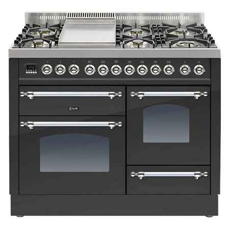 Ilve PTN110F-E3 Milano 110cm Dual Fuel Matte Black Range Cooker - Ex-Display