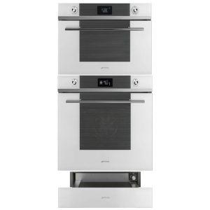 Smeg White Linea Bundle – SFP6102TVB Pyrolytic Oven/SF4102MCB Combination Microwave Oven/CPR115B Warming Drawer – Ex-Display