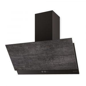 Faber Grexia GRES DG/BK A90 Dark Grey Stoneware & Black 90cm Wall Mounted Hood