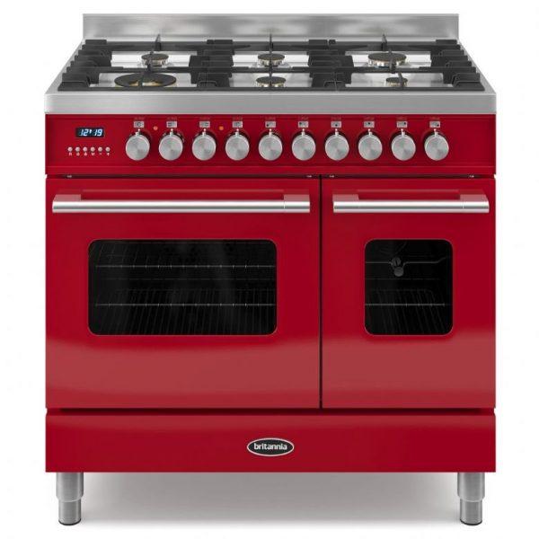 Britannia Delphi 90cm twin Range Cooker Dual Fuel in Red
