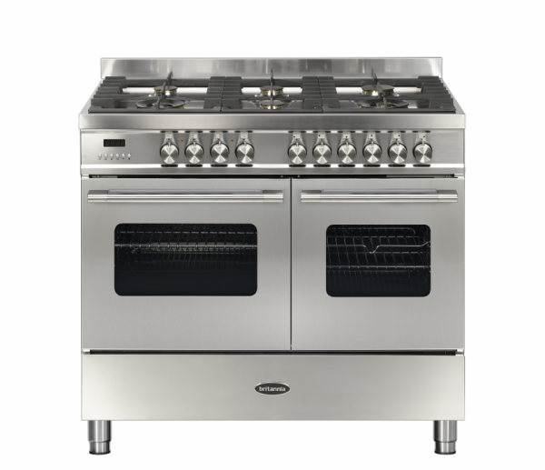 Britannia Delphi 100cm twin Range Cooker Dual Fuel in Stainless Steel