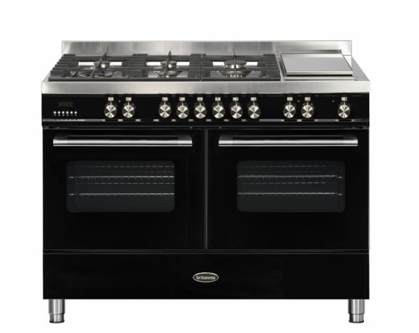 Britannia Delphi 120cm twin Range Cooker Dual Fuel Gloss Black
