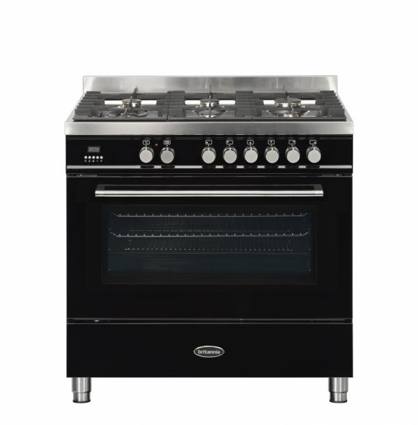 Britannia Q Line 90cm single Range Cooker Dual Fuel in Gloss Black