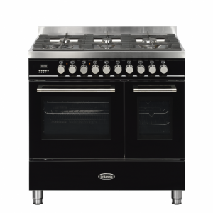 Britannia Q Line 90cm twin Range Cooker Dual Fuel in Gloss Black
