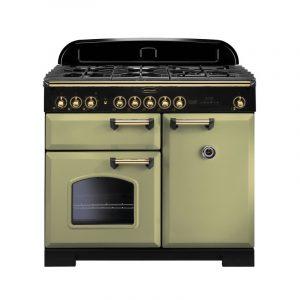 Rangemaster CDL100DFFOG/B Classic Deluxe 100 Dual Fuel Range Cooker – Olive Green & Brass