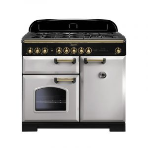 Rangemaster CDL100DFFRP/B Classic Deluxe 100 Dual Fuel Range Cooker Royal Pearl & Brass