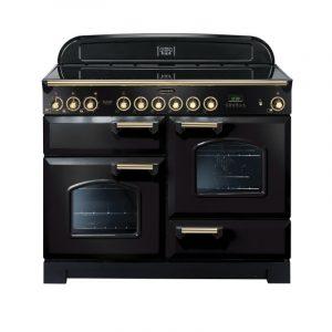 Rangemaster CDL110ECBL/B Classic Deluxe 110 Ceramic Range Cooker Black & Brass